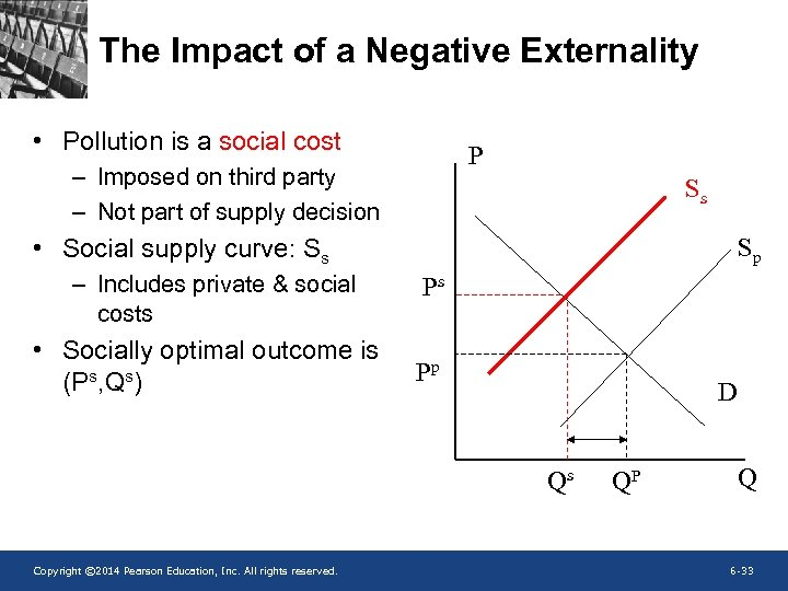 The Impact of a Negative Externality • Pollution is a social cost P –