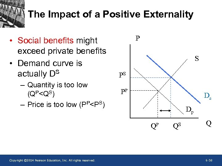 The Impact of a Positive Externality • Social benefits might exceed private benefits •