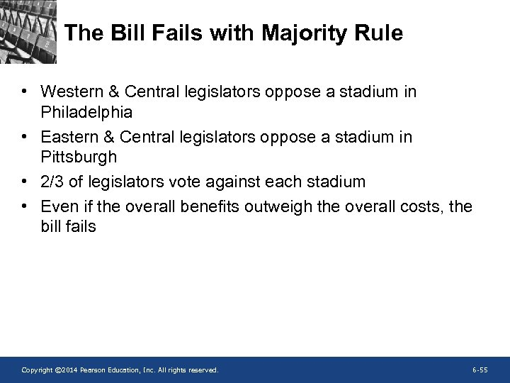 The Bill Fails with Majority Rule • Western & Central legislators oppose a stadium