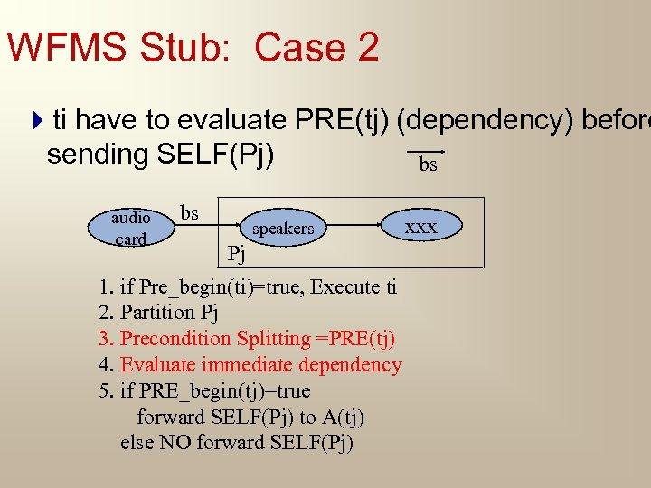 WFMS Stub: Case 2 4 ti have to evaluate PRE(tj) (dependency) before sending SELF(Pj)