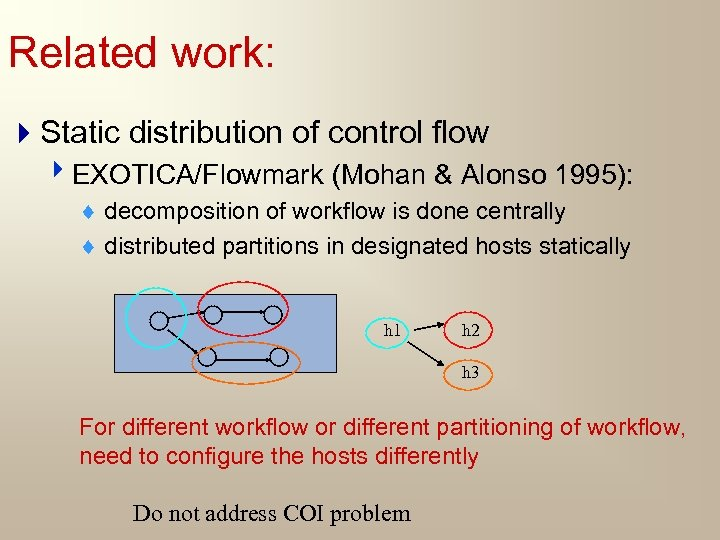 Related work: 4 Static distribution of control flow 4 EXOTICA/Flowmark (Mohan & Alonso 1995):