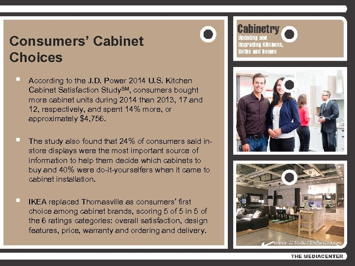 Consumers' Cabinet Choices § According to the J. D. Power 2014 U. S. Kitchen