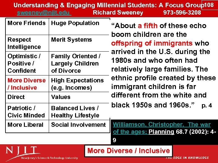 Understanding & Engaging Millennial Students: A Focus Group 108 sweeney@njit. edu Richard Sweeney 973