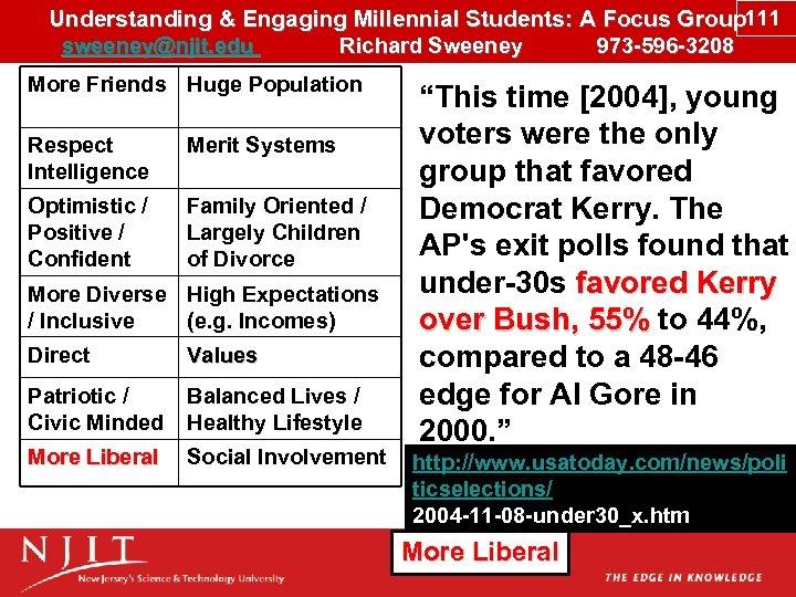 Understanding & Engaging Millennial Students: A Focus Group 111 sweeney@njit. edu Richard Sweeney 973