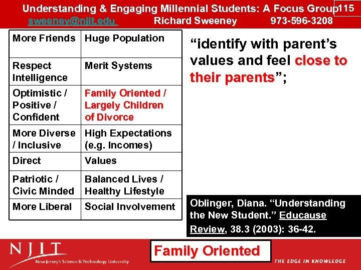 Understanding & Engaging Millennial Students: A Focus Group 115 sweeney@njit. edu Richard Sweeney 973