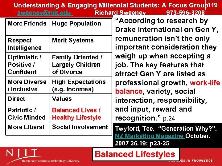 Understanding & Engaging Millennial Students: A Focus Group 119 sweeney@njit. edu Richard Sweeney 973