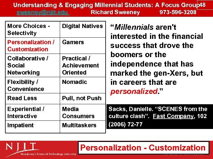 Understanding & Engaging Millennial Students: A Focus Group 48 sweeney@njit. edu Richard Sweeney 973