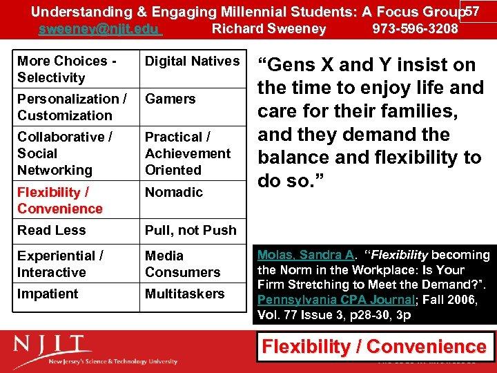 Understanding & Engaging Millennial Students: A Focus Group 57 sweeney@njit. edu Richard Sweeney 973