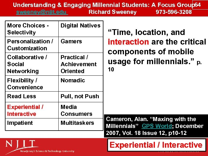 Understanding & Engaging Millennial Students: A Focus Group 64 sweeney@njit. edu Richard Sweeney 973