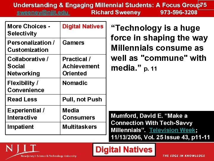 Understanding & Engaging Millennial Students: A Focus Group 75 sweeney@njit. edu Richard Sweeney 973
