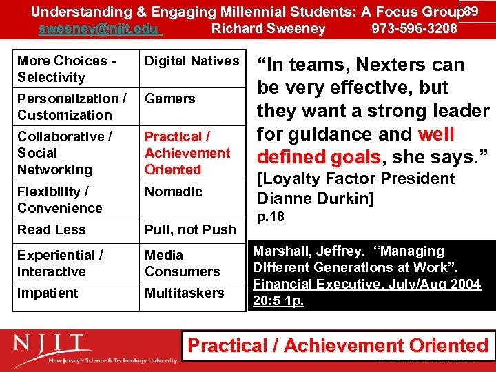 Understanding & Engaging Millennial Students: A Focus Group 89 sweeney@njit. edu Richard Sweeney 973