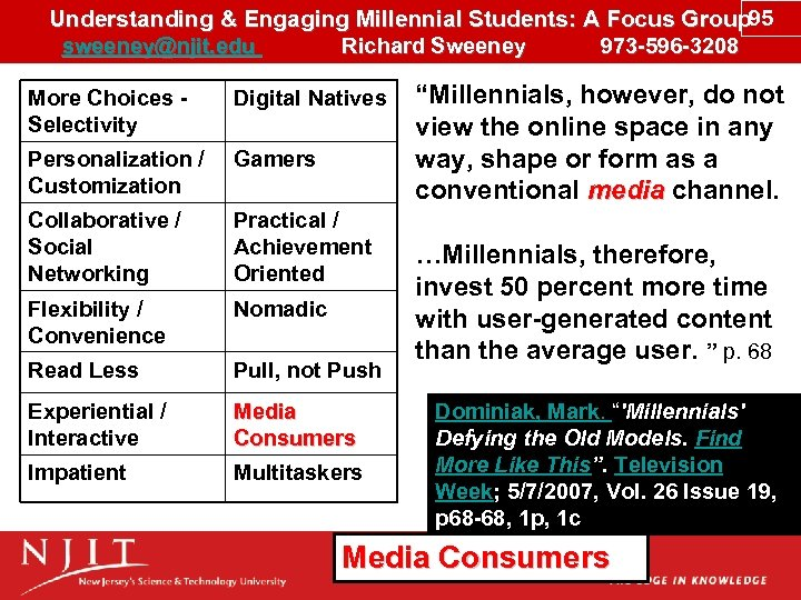 Understanding & Engaging Millennial Students: A Focus Group 95 sweeney@njit. edu Richard Sweeney 973