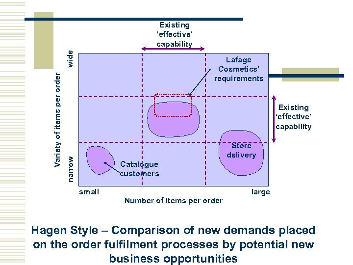 Lafage Cosmetics' requirements Existing 'effective' capability Store delivery narrow Variety of items per order