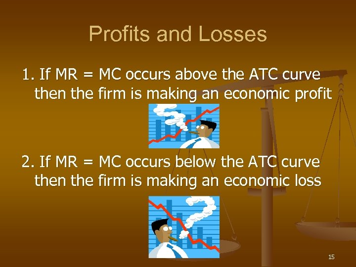 Profits and Losses 1. If MR = MC occurs above the ATC curve then