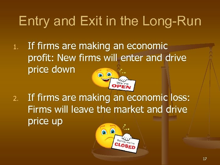 Entry and Exit in the Long-Run 1. 2. If firms are making an economic