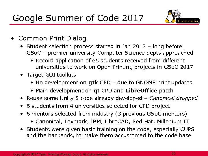 Google Summer of Code 2017 • Common Print Dialog • Student selection process started