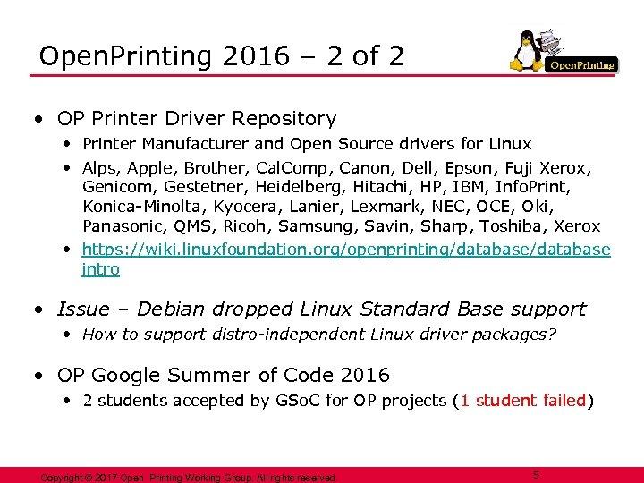 Open. Printing 2016 – 2 of 2 • OP Printer Driver Repository • Printer