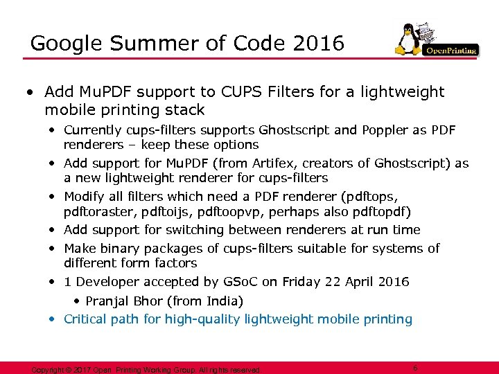 Google Summer of Code 2016 • Add Mu. PDF support to CUPS Filters for