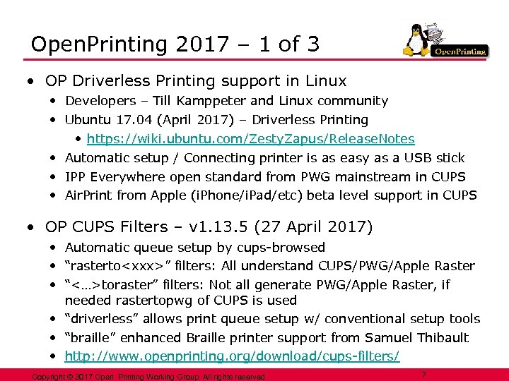 Open. Printing 2017 – 1 of 3 • OP Driverless Printing support in Linux