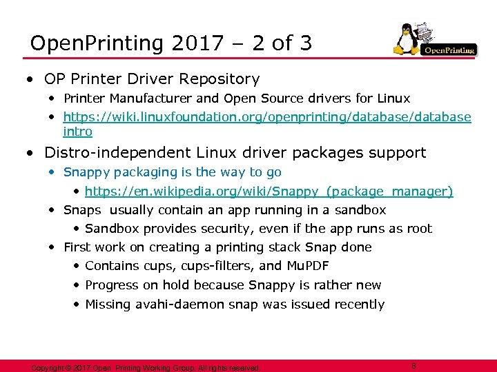 Open. Printing 2017 – 2 of 3 • OP Printer Driver Repository • Printer