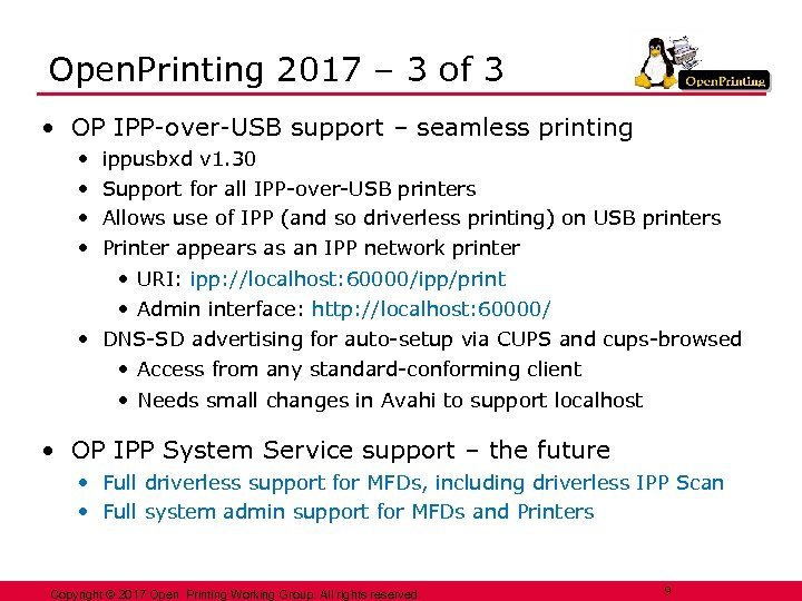 Open. Printing 2017 – 3 of 3 • OP IPP-over-USB support – seamless printing