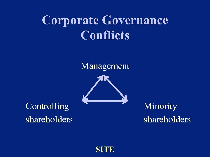 Corporate Governance Conflicts Management Controlling shareholders Minority shareholders SITE