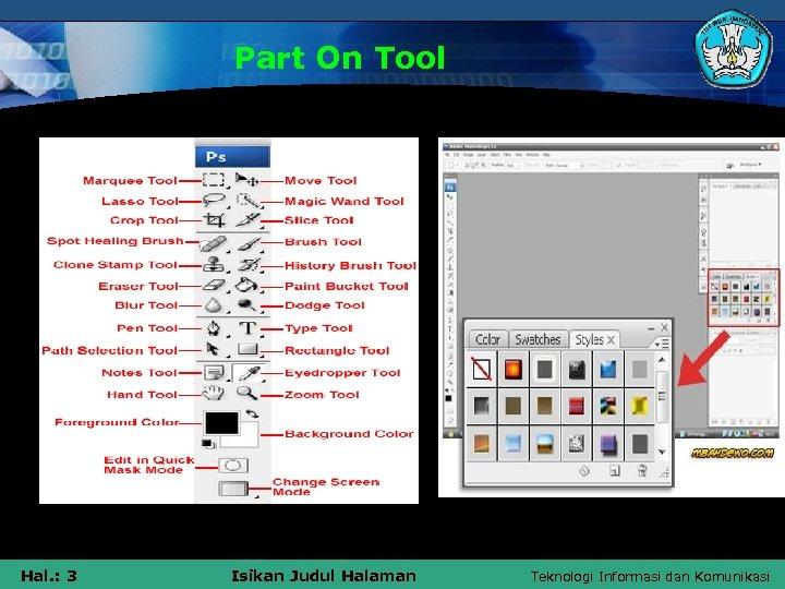 Part On Tool Hal. : 3 Isikan Judul Halaman Teknologi Informasi dan Komunikasi