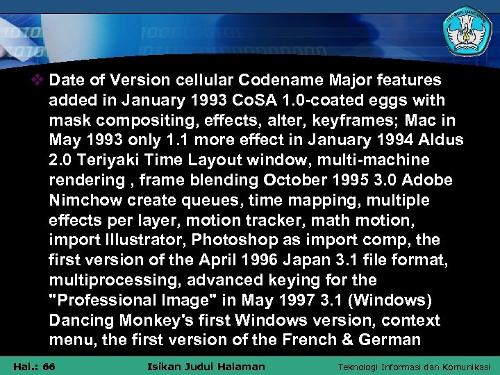 v Date of Version cellular Codename Major features added in January 1993 Co. SA