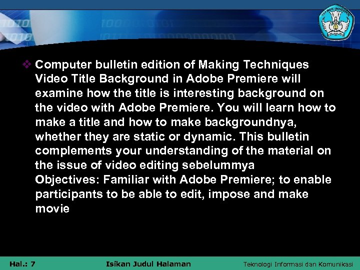 v Computer bulletin edition of Making Techniques Video Title Background in Adobe Premiere will