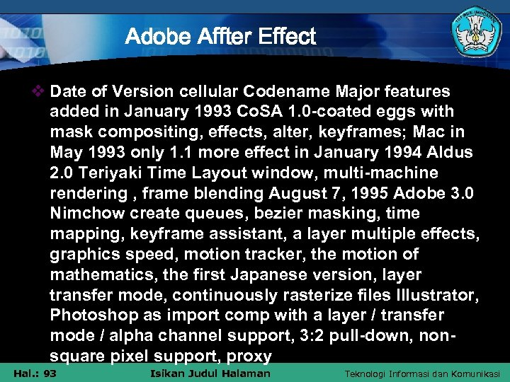 Adobe Affter Effect v Date of Version cellular Codename Major features added in January