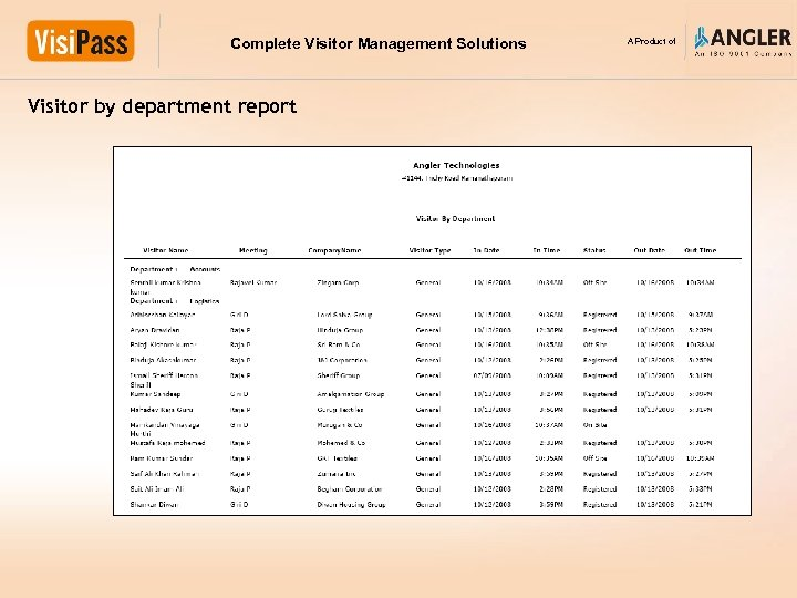 Complete Visitor Management Solutions Visitor by department report A Product of
