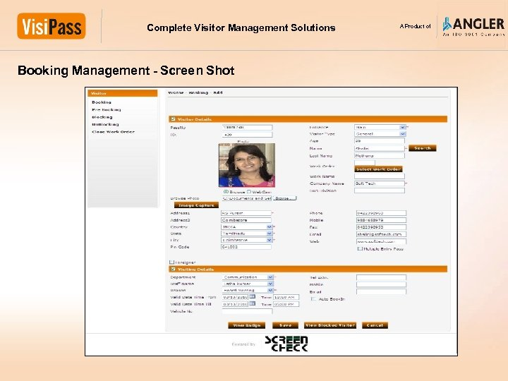 Complete Visitor Management Solutions Booking Management - Screen Shot A Product of