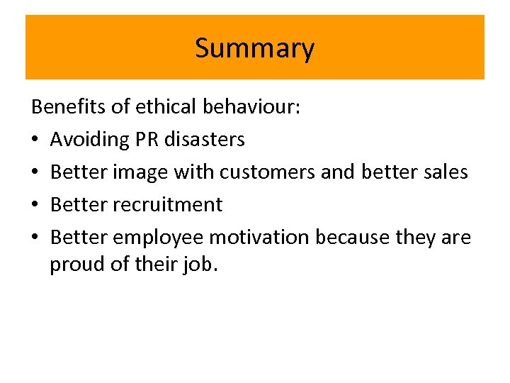 benefits of ethical behaviour