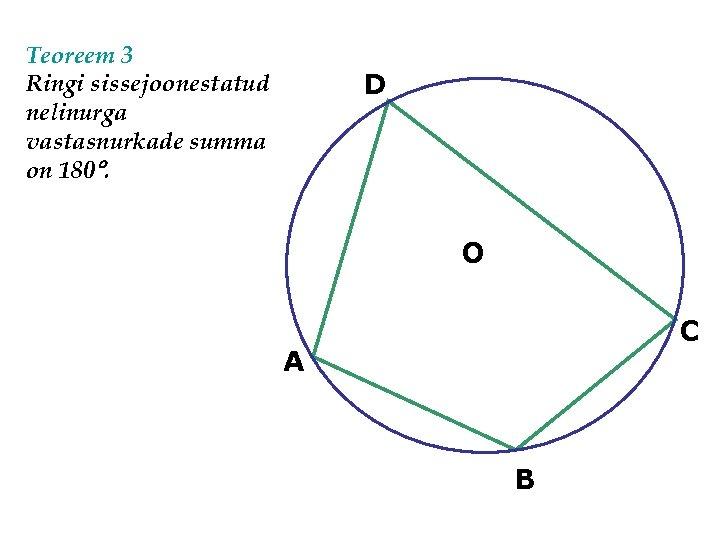 Teoreem 3 Ringi sissejoonestatud nelinurga vastasnurkade summa on 180. D O C A B