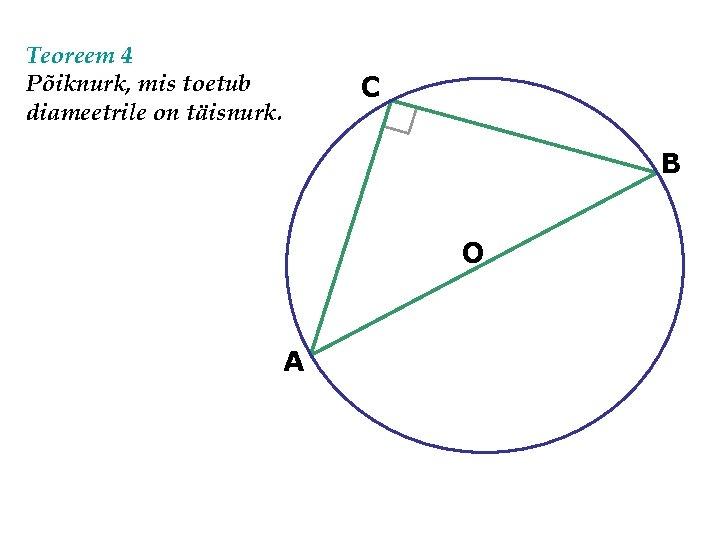 Teoreem 4 Põiknurk, mis toetub diameetrile on täisnurk. C B O A