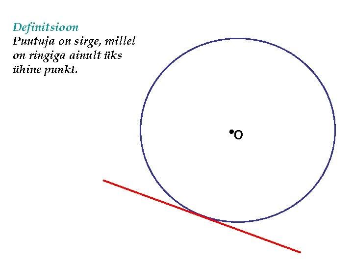 Definitsioon Puutuja on sirge, millel on ringiga ainult üks ühine punkt. O