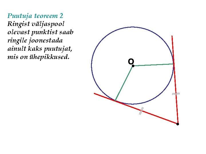 Puutuja teoreem 2 Ringist väljaspool olevast punktist saab ringile joonestada ainult kaks puutujat, mis