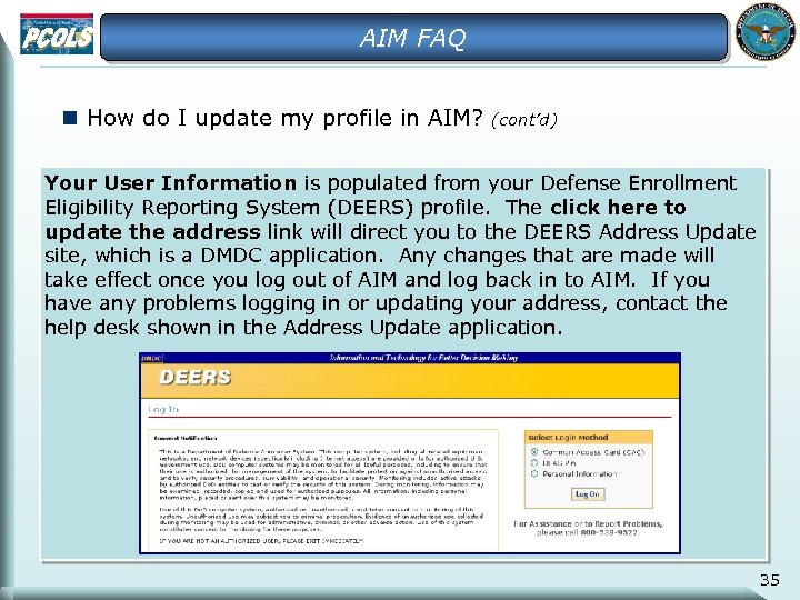 AIM FAQ n How do I update my profile in AIM? (cont'd) Your User