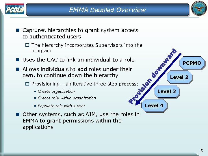 EMMA Detailed Overview n Captures hierarchies to grant system access to authenticated users o
