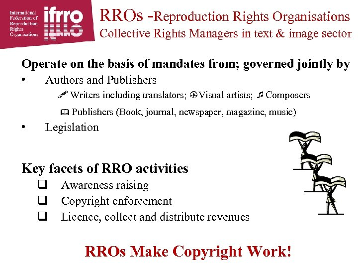 RROs -Reproduction Rights Organisations Collective Rights Managers in text & image sector Operate on