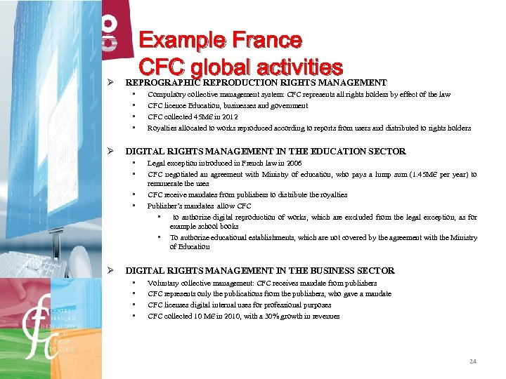 Ø Example France CFC global activities REPROGRAPHIC REPRODUCTION RIGHTS MANAGEMENT • • Ø DIGITAL