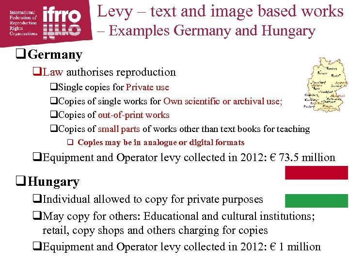 Levy – text and image based works – Examples Germany and Hungary q Germany