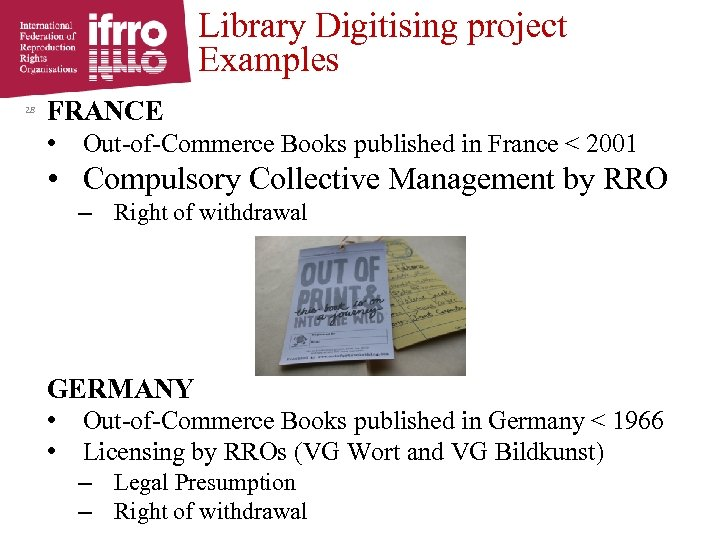 Library Digitising project Examples 28 FRANCE • Out-of-Commerce Books published in France < 2001