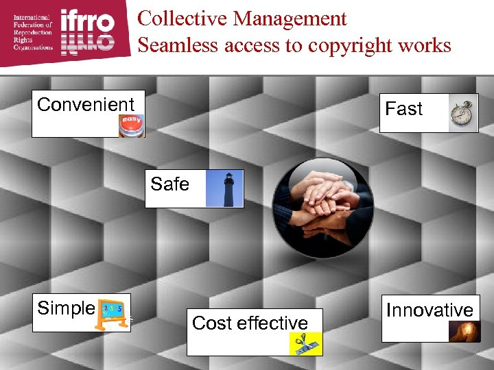Collective Management Seamless access to copyright works Convenient Fast Safe Simple Cost effective Innovative