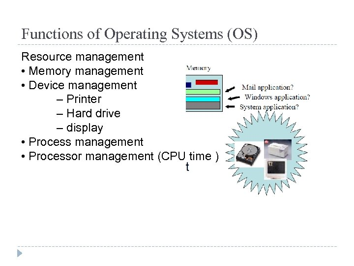 Functions of Operating Systems (OS) Resource management • Memory management • Device management –