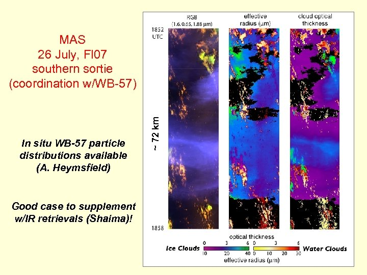 In situ WB-57 particle distributions available (A. Heymsfield) Good case to supplement w/IR retrievals