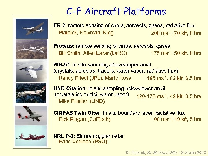 C-F Aircraft Platforms ER-2: remote sensing of cirrus, aerosols, gases, radiative flux Platnick, Newman,