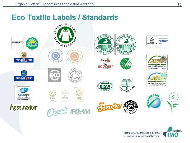 Organic Cotton: Opportunities for Value Addition 10 Eco Textile Labels / Standards Institute for