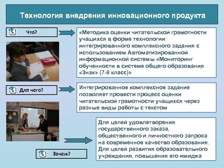 Технология внедрения инновационного продукта Что? «Методика оценки читательской грамотности учащихся в форме технологии интегрированного