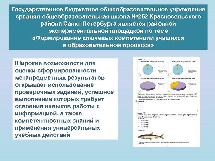 Государственное бюджетное общеобразовательное учреждение средняя общеобразовательная школа № 252 Красносельского района Санкт-Петербурга является районной